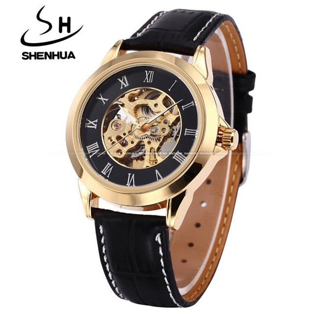 Reloj Hombre Shanghai Shenhua Gold Skeleton Mechanical Watches Men Fashion Vintage Clock Automatic Self Wind Machinery Watches