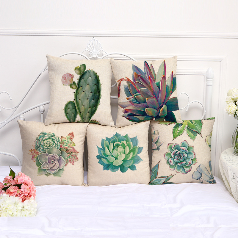 Linen Cactus Plants  5 pieces Droping Desert plants succulents stamp cotton sofa retro soft cushion hold pillow