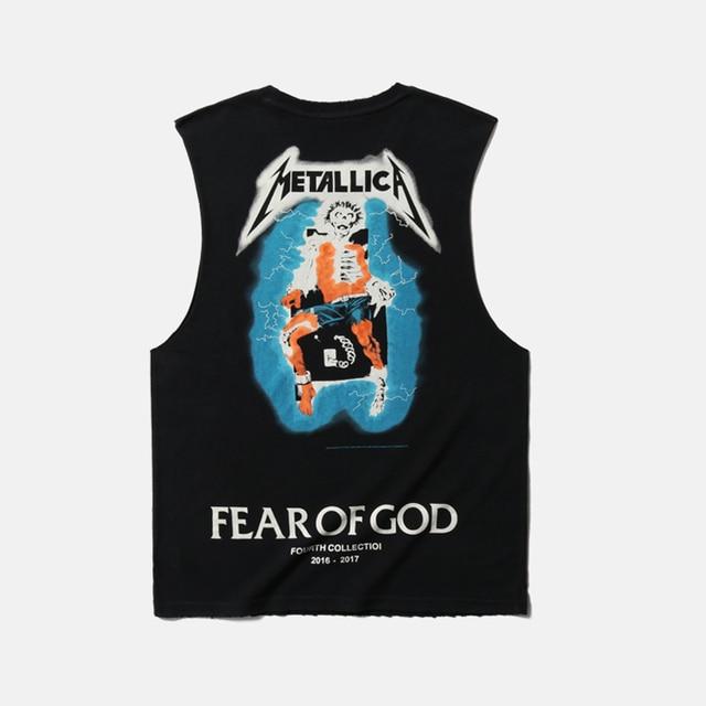 d71dc27ab Fear Of God Tank Tops 2018 Summer Punk Rock Men's Heavy Metal Black Vest  Streetwear Hip Hop Skull Distressed Metallica Tank Tops