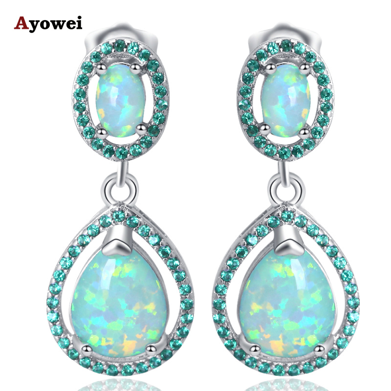 Ayowei Anniversary Water drop design green Fire Opal Silver stamped Drop Earrings for women JE1155A pair of chic rhinestoned water drop earrings for women