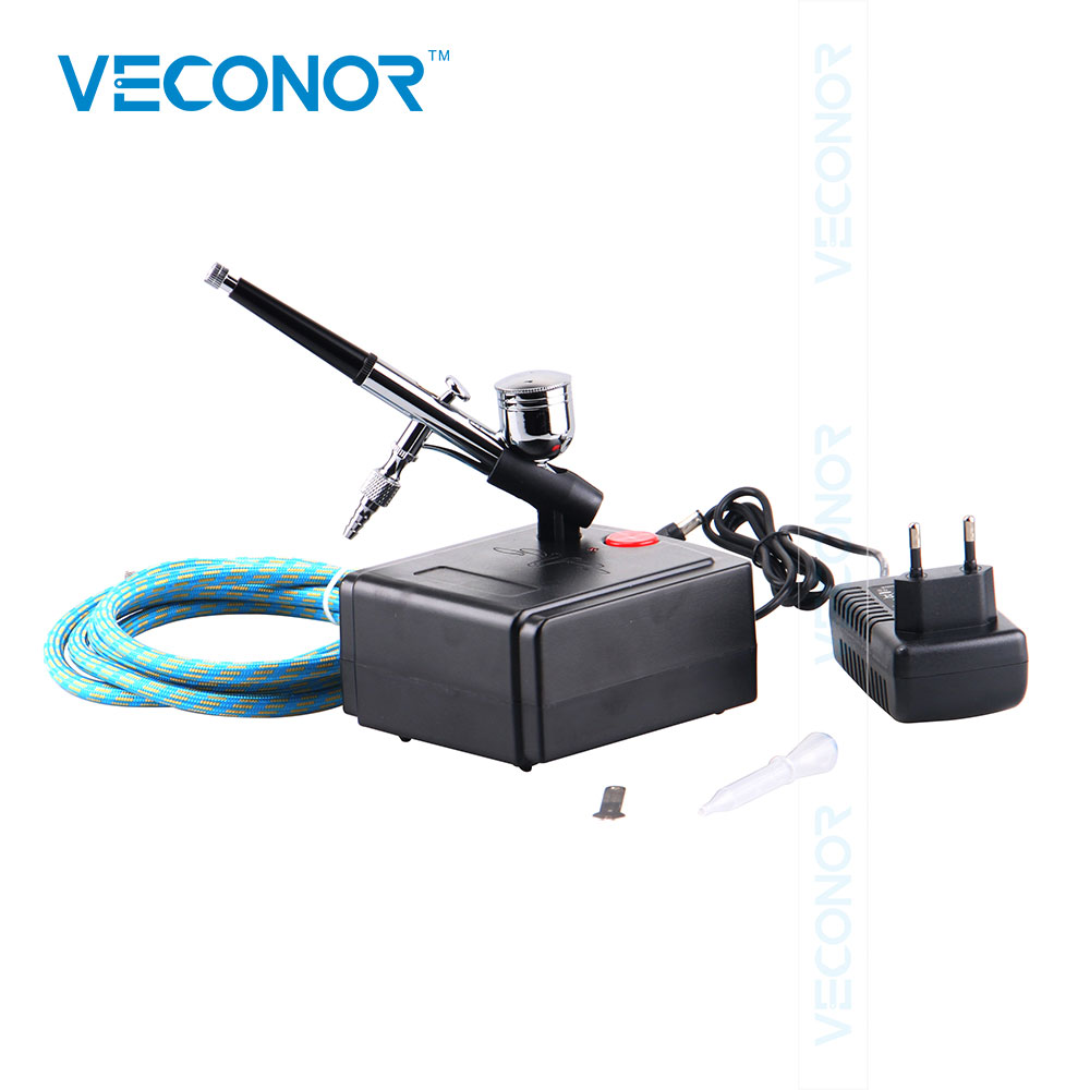Veconor Art Painting Makeup Air Compressor Dual Action Airbrush Kit Tattoo Manicure Craft Cake Spray Nail Tool Set Spray Gun 0 2mm 2cc nail art airbrush system kit for nail art makeup body paint 100 240v
