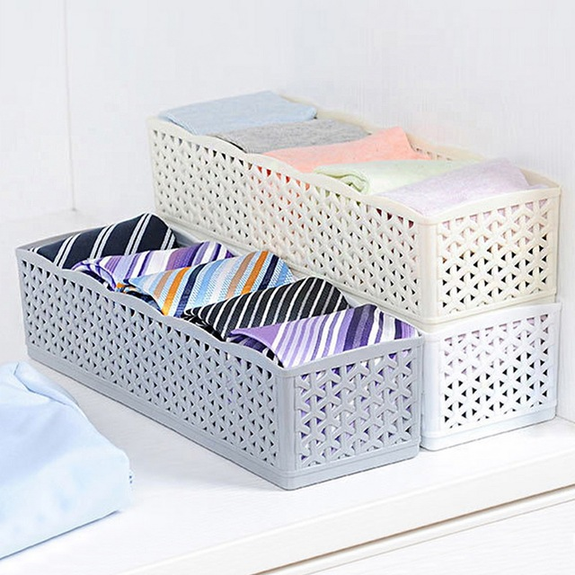 5 Grids Plastic Container Organizer Wardrobe Storage Box Basket Organizer Women Men Socks Bra Underwear Storage Box