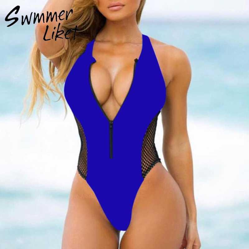 ba44f3a7cf6 ... Sexy zipper bikini women 2019 Mesh push up bathers beach wear swimwear  High cut bathing suit