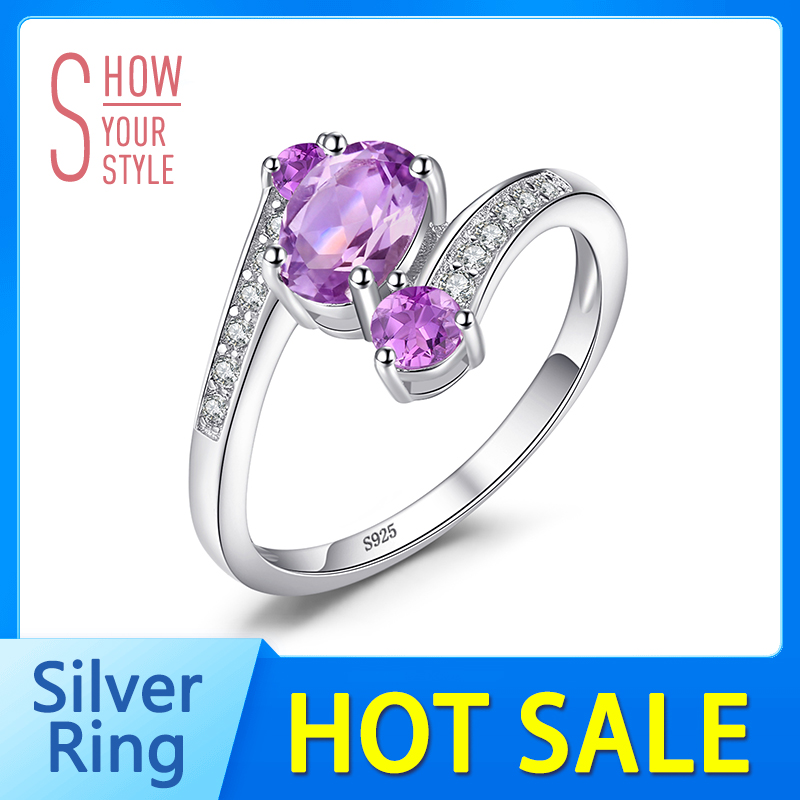 SmyckenPalace Pure 925 Sterling Silver 0.9ct Natural Amethyst 3 Stone - Fina smycken