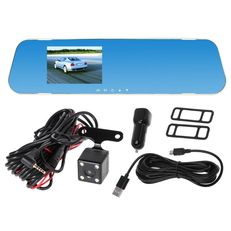 V40 Vehicle Recorder Two lens Rear View Mirror Camera Video Dashcamera Full HD Night Vision Dash Cam Car DVR