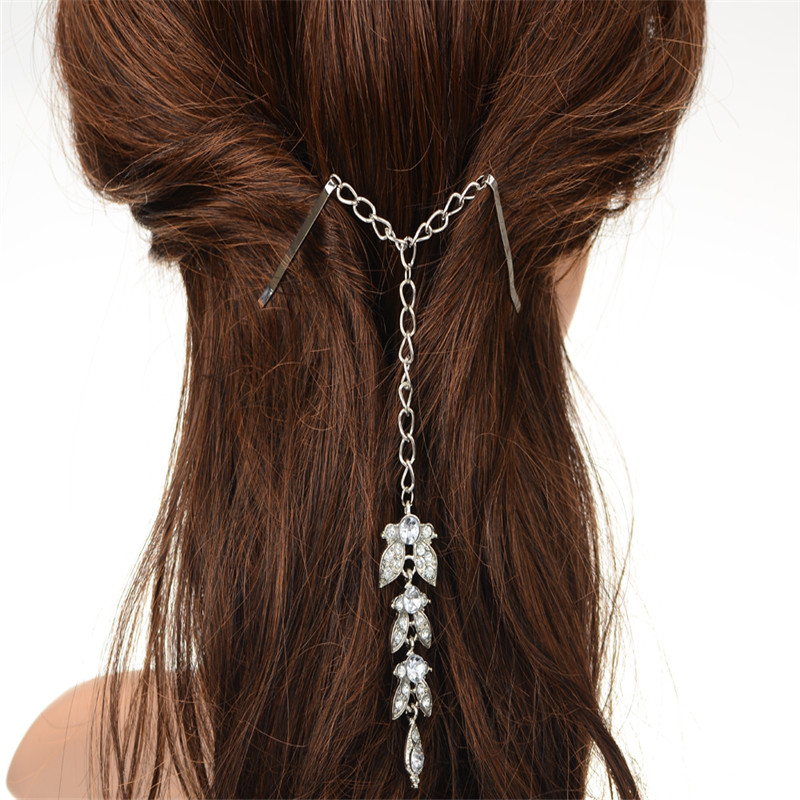 1PC Chain Hair Accessories Headpiece Bride Hair Pin Cuff Wrap Silver Plated Crystal Leaf Pendant Forehead Indian Head Jewelry