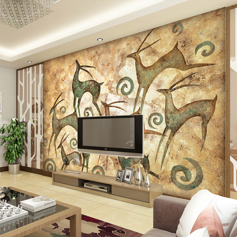 3d photo wallpaper High quality wall painting minimalist living room TV backdrop bedroom beige elk large mural wall paper custom 3d stereoscopic large mural wallpaper wall paper living room tv backdrop of chinese landscape painting style classic