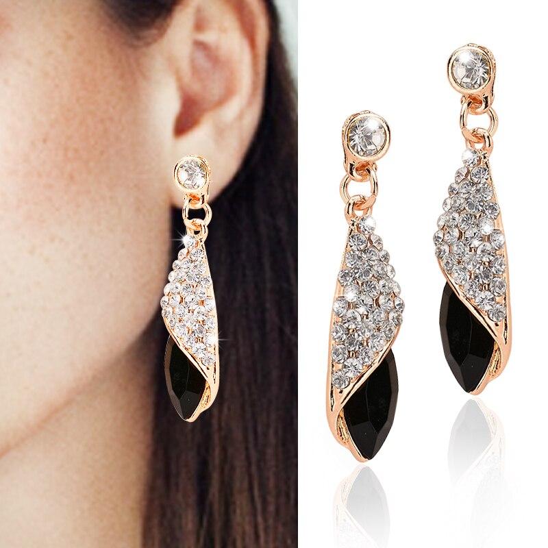 1 pair Girls Fashion Earrings Women Crystal Water Drop Earrings Fashion Jewelry Wedding Pierced Dangle Earrings 4 colors