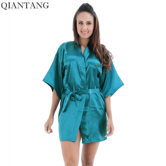65434f817cd3f Плюс размеры для женщин длинные Легкий халат синий китайский Леди шелковый  атлас кимоно ванной платье Ночная