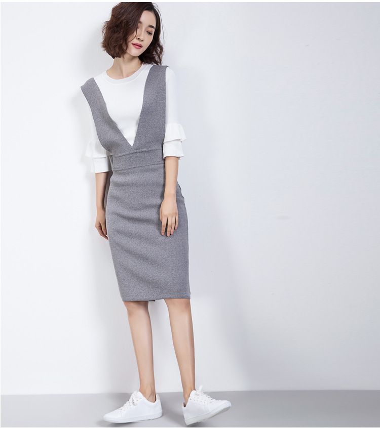 New Spring Women Solid Slim V-neck Overalls Black Grey Sleeveless Knee-Length Knitted Dress Korea Style Sheath Midi Vestidos famous brand new black women s medium m ruched cowl neck sheath dress $90 076