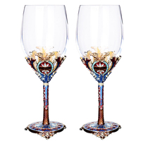 Classic royal enjoyment crystal glass wine cup Pretty metal decorative glass goblet Wine glass cup