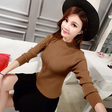 New Women's Sweater Winter 2016 Autumn Fashion Casual All-match Solid Elasticity Turtleneck Slim Knitted Pullover Sweater Female