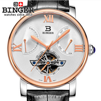 2017 New fashion Binger clock male Leather Strap Watches Men sports watch army Automatic Wristwatch free
