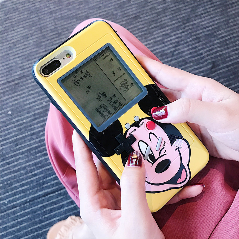 Cartoon Game Phone Cases For iPhone X XR Xs Max Mininie Mickey Mouse Tetris Gameboy Phone
