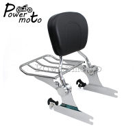 Chrome Motorcycle Detachable Backrest Sissy Bar Luggage Rack For Harley Softail Deluxe FLSTN Custom 2005 2015
