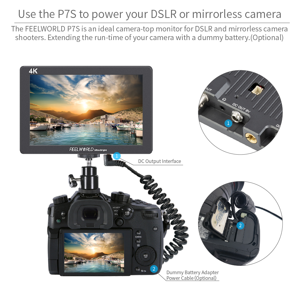 Portkeys HS7T 7 Zoll Kamera Monitor DSLR Full HD 1200nit IPS Bildschirm Monitor unterst/ützt 4K Video Peaking Focus Assist mit 4K HDMI 3G SDI Tragbarer Kleiner Monitor f/ür Sony Canon Kamera