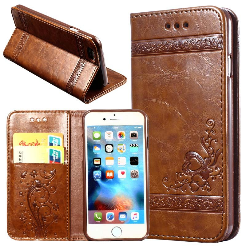 10PCS Leather Flip Wallet Phone Case For i7 i8 Dirt Resistant PU Silicon Cover Phone Bag