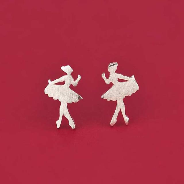 Ruifan Promosyon Toptan Dans Kız 925 gümüş saplama küpe için Kadın Bayanlar Küçük Küpe Güzel Takı YEA122