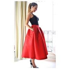 Высокая уличная красная Пышная юбка длиной до щиколотки для женщин для формальной вечеринки модная сатиновая юбка с карманами на заказ пышная Нижняя юбка