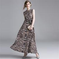 2019 Summmer Long Dress Women Sexy Leopard Print Vintage Dress Sleeveless Sundress Casual long Maxi Shirt Dresses Robe Femme