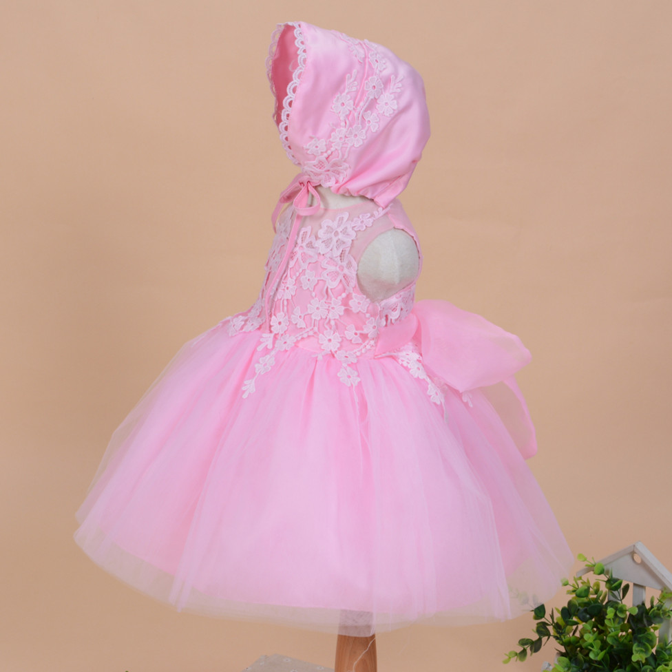 2019 Nyári új baba lány keresztség ruha kalap ball ruha szilárd - Bébi ruházat - Fénykép 4