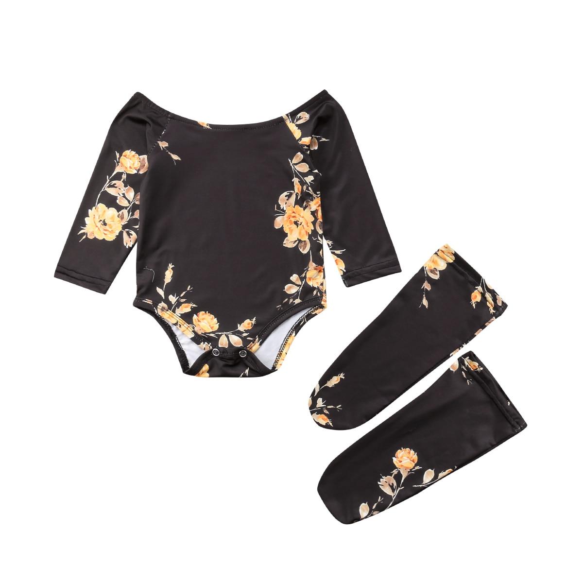 Bereidwillig 2018 Baby Meisje Zuigeling Off Shoulder Bloem Goud Zwarte Bloem Bodysuit Jumpsuit + Beenwarmers Outfits Herfst Kleding Comfortabel Gevoel