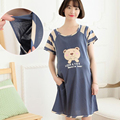 Knee Length Nursing Clothes Pregnant Women Maternity Dress Summer Breastfeeding Lactating Loose Cotton Dress Pregnancy Gravidity
