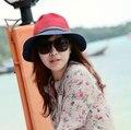 Retro Sol Sombrero de Cuero Hebilla de sombrero de Playa Sombreros de Moda de Verano para Mujer de Paja Plegable Vendimia Mujeres Sombreros ZJ-AHB061