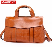 MAGICYZ Crossbody Bags For Women High Quality Alligator Leather Famous Brand Women Handbag High Quality Satchels Briefcase Sac