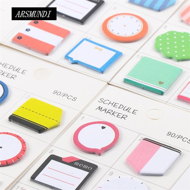 Kawaii Korean Index Planner Stickers Cute Post It School Office Papeleria School Supplies Stationery