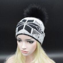 2017 European style Winter Wool Beanie With Big Raccoon fur pompoms Fashion female fur hat Headgear For Women Skullies Beanies
