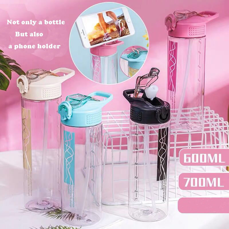 700ML <font><b>drink</b></font> bottle with straw & handgrid BPA free plastic cute water bottle 700ml for outdoor girls with phone holder image