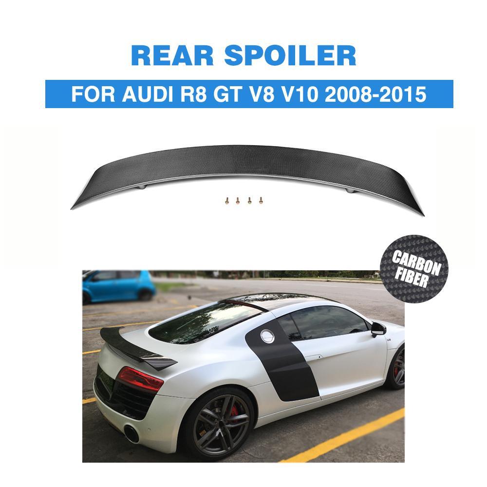 Carbon Fiber Rear Trunk Boot Wing Spoiler for Audi R8 GT V8 V10 2008 -2015 Auto Tail Lip Wing Spoiler FRP Unpainted schuco audi r8 gt