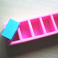 Silicone Soap Mold 6 Cavity Rectangular Shape Fondant Cake Chocolate Mold Ice Mould