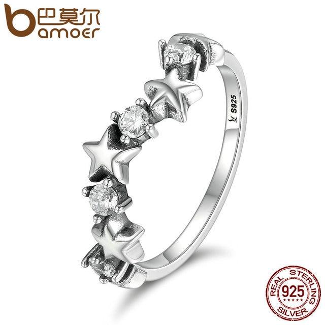 BAMOER High Quality 100% 925 Sterling Silver Sparking Star Luminous CZ Finger Ri