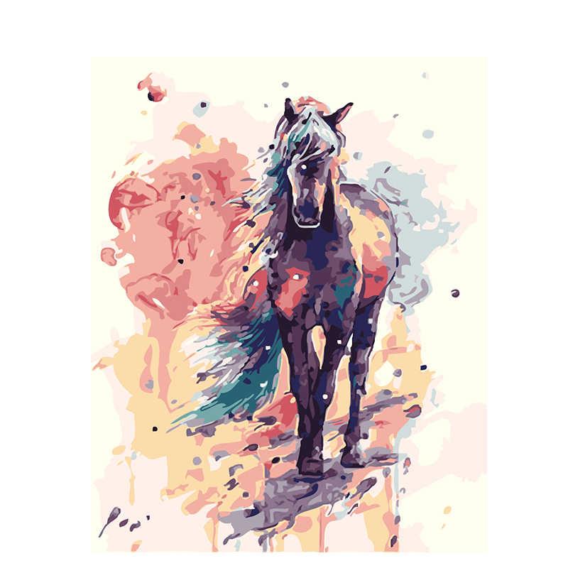 Horse.40x50cm aquarela, Pintura Por Números, DIY, Arte da parede, Decoração da Sala de estar, a Paisagem, Figura, animal, Flor, Desenhos Animados