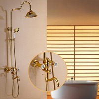 FLG Deluxe Carving Retro Style Solid Brass Gold Bathroom Shower Set Faucet Wall Mounted Single Handle