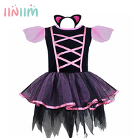 ליל כל הקדושים קוספליי שמלה בנות חתול שחור תלבושות בגדי ביצועי מסיבת ילדי ילדי שמלות טוטו ריקוד קרנבל עם זנב