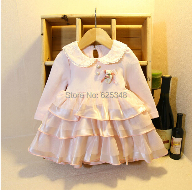 2017 Spring Retail Spring and autumn 0-2 years baby girl clothes long-sleeve bow lace lovely princess baby dress girl dress
