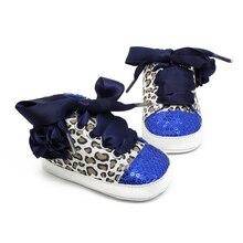 Baby Дети Девушки Хлопок Цветочные Leopard Блесток Младенческая Мягкой Подошвой Детские Первые Ходунки Малыша Обувь