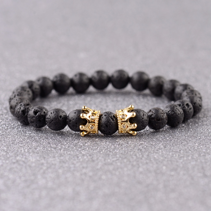 8mm Natürliche Lava Stein Perlen Männer Crown Armband Pulseras Hombre Moda 2018 Charme König Vulkangestein Yoga Armband Schmuck Geschenk