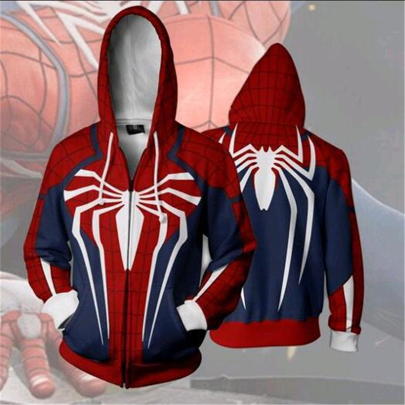 2018 New ps4 insomniac spiderman Cosplay men spiderman Costume Autumn fashion Hoodies & Sweatsh Game anime Hooded zipper sweater