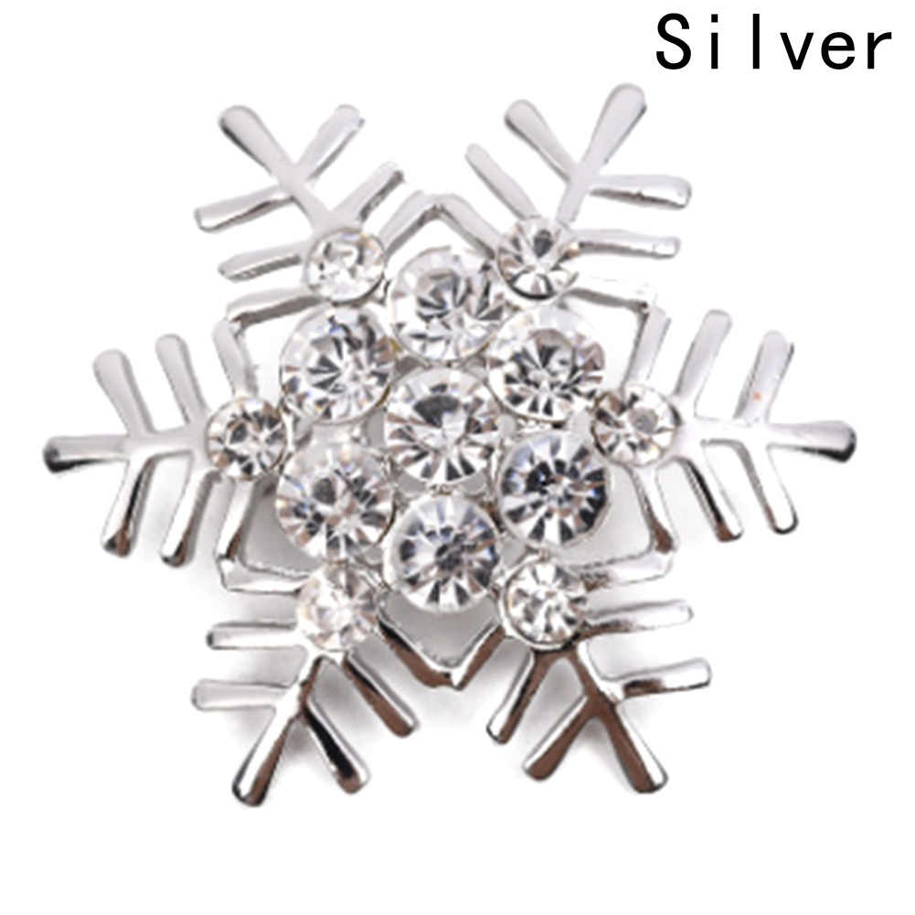 Kepingan Salju Yang Indah Musim Dingin Salju Kristal Berlian Imitasi Pengantin Pernikahan Bros Pin untuk Xmas Natal Warna Emas Perak Bros