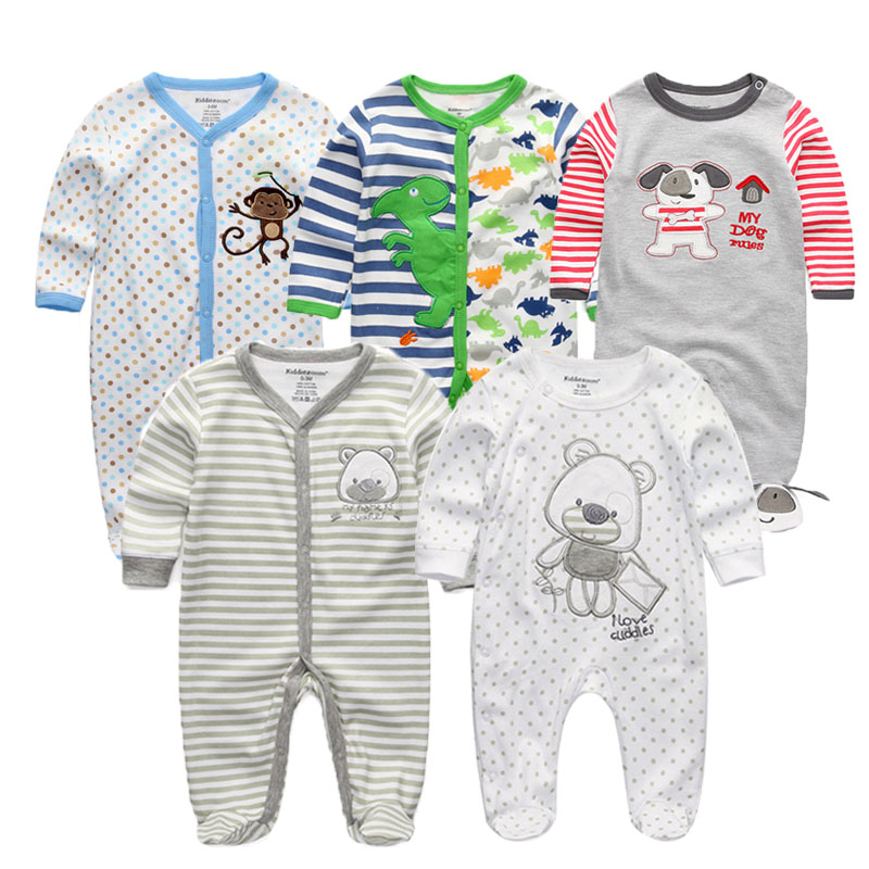 91e001f047d9 2018 1 3 4 5PCS lot Newborn Baby Rompers Full Sleeve Cotton Jumpsuit 0-12M Baby  Girl Clothes Boys Clothing Roupa de bebe