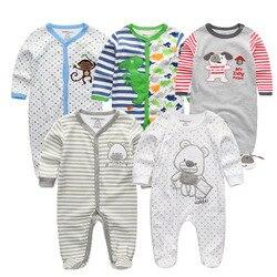 2019 1/3/4/5 pçs/lote Recém-nascidos Macacão de Bebê Macacão de Algodão de Manga Completa 0-12 M roupa de bebe de Menina Roupa do bebê Meninos Roupas