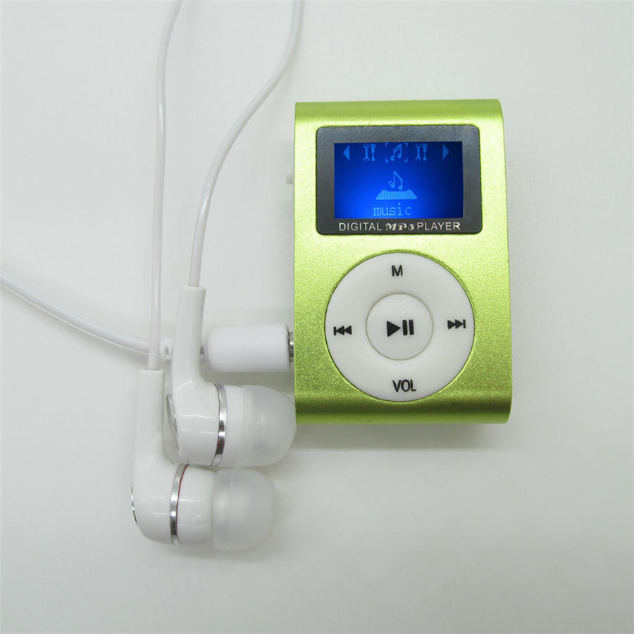 Mini Clip MP3 Player LCD Screen Portable MP3 Player with Micro TF/SD Card Slot sport mp3 Music players + Earphone + USB Cable