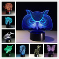 2017 Regalos Creativos Animales Lámpara de Luz Nocturna en 3D RGB Cambiable Mood Lámpara de Luz LED de la CC 5 V USB De Mesa Decorativas lámpara