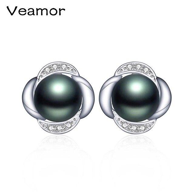 New Fashion Stud Earrings for women 925 Sterling Silver Jewelry AAA zircon For Women Natural Freshwater Black Pearl Stud Earring