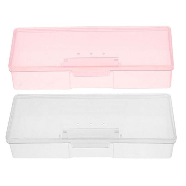 2 Color SIZE19 x 7.5 x 3.8 cm Plastic Transparent Nail Supplies Tools Storage Box Buffer Files Push Grinding Blocks Organizer Ca