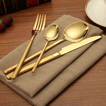 KuBac 24Pcs Golden Dinnerware Set Stainless Steel Cutlery Dinner Knife Fork Scoops Teaspoon Gold For Party